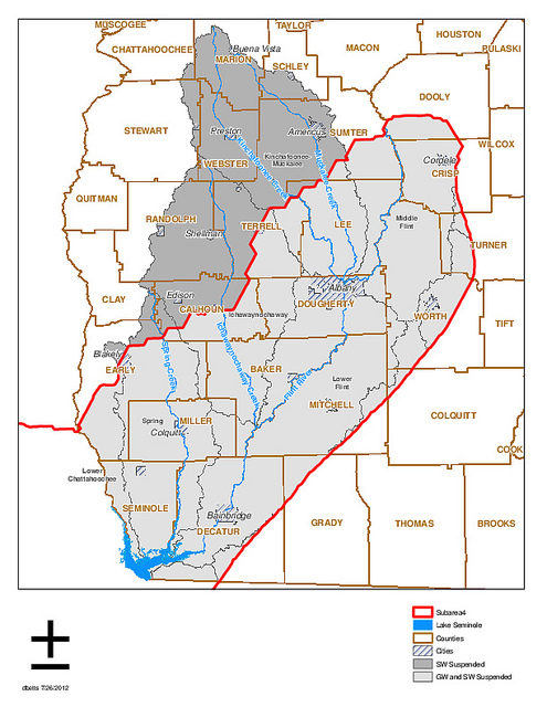 Map of SW GA suspended water permit regions
