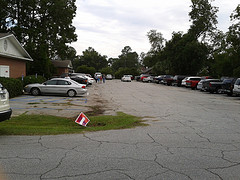 Full parking lot in Hahira