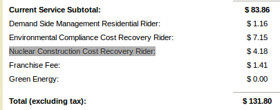 Nuclear Construction Cost Recovery Rider
