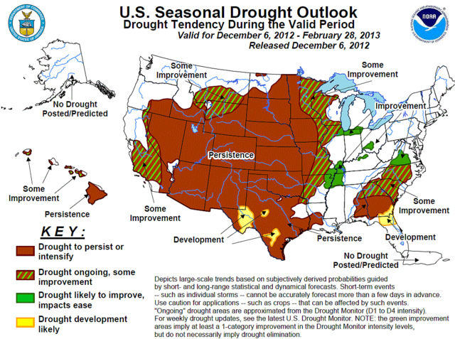 U.S. Seasonal Drought Outlook by NOAA