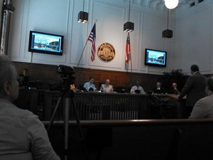 300x225 Gretchen videoing for LAKE, in Flooding Study --Army Corps of Engineers at Valdosta City Council, by John S. Quarterman, for Lowndes Area Knowledge Exchange, 6 May 2014