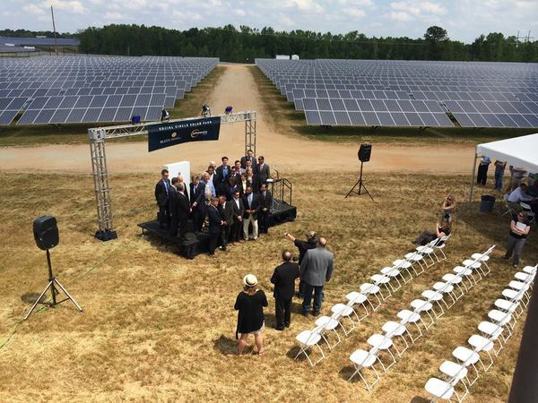 600x450 Stage, in Simon Solar Ribbon Cutting, by Bryan Casey, for Lowndes Area Knowledge Exchange (LAKE), 13 May 2014