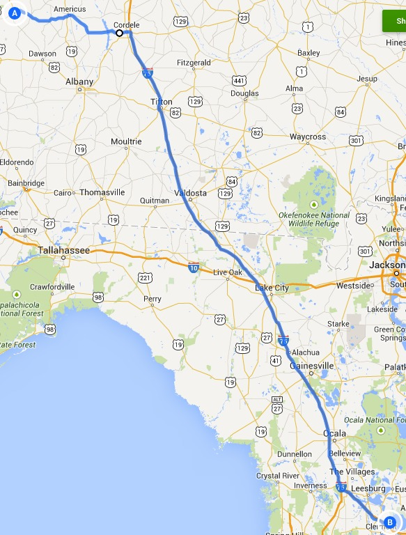 Map, in Alternative 4: Richland, Americus, Cordele, Ashburn and I-75 FERC to Sabal Trail, by John S. Quarterman, 14 September 2014
