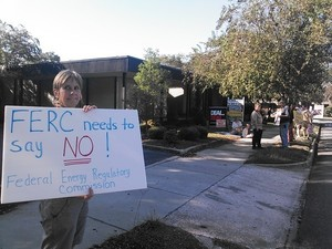 300x225 Nanci Kendall, in Protest at Valdosta Sabal Trail office, by John S. Quarterman, 21 October 2014