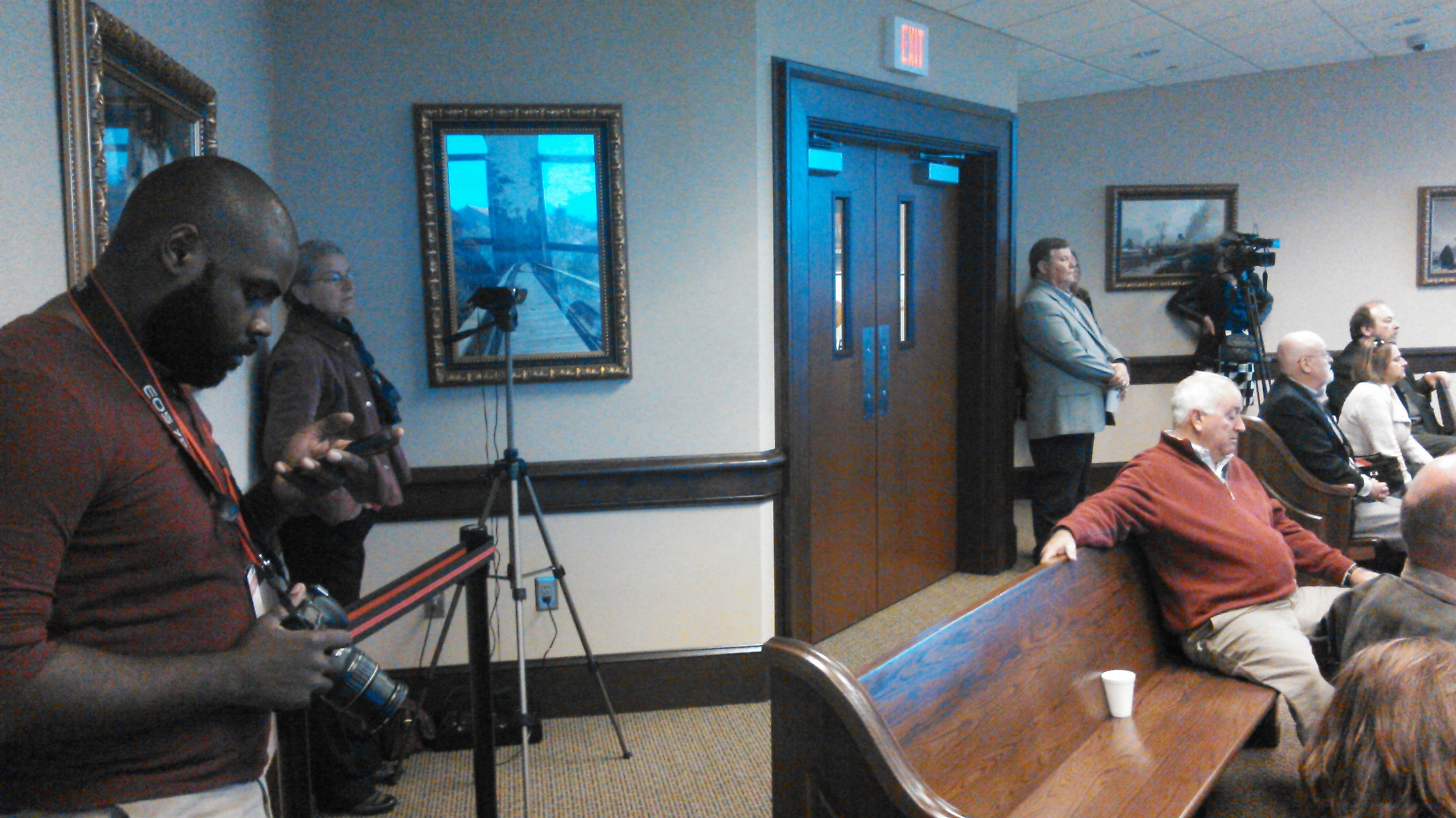 3264x1836 VDT videographer, Gretchen with the LAKE camer, Chairman Slaughter, County Clerk, in Open Government Symposium, by John S. Quarterman, 21 November 2014