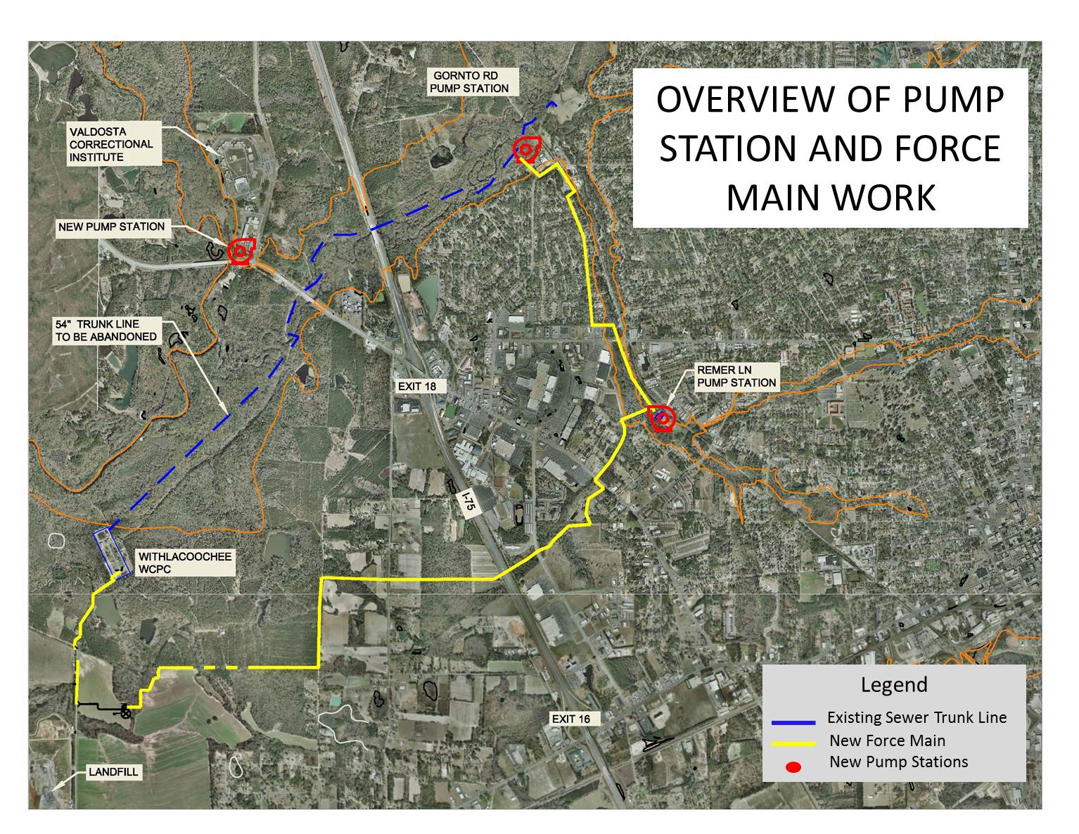 1534x1186 Map, in Force Main and Pump Stations, by City of Valdosta, 8 November 2014