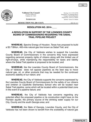 300x400 Whereas, in Valdosta Draft Resolution Against Sabal Trail Pipeline, by Valdosta City Council, 10 December 2014