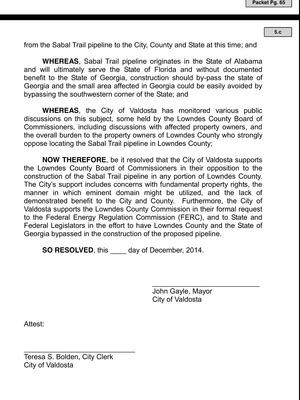 300x400 So Resolved, in Valdosta Draft Resolution Against Sabal Trail Pipeline, by Valdosta City Council, 10 December 2014