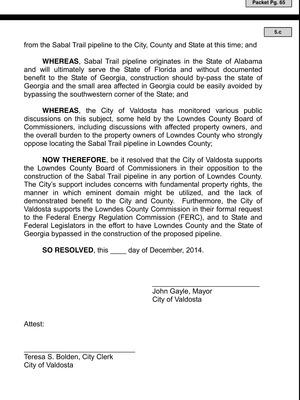 300x400 So Resolved, in Valdosta Draft Resolution Against Sabal Trail Pipeline, by Valdosta City Council, 10 December 2014
