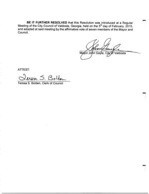300x389 Signed, in Resolution against  million tax local tax loss to HB 170., by City of Valdosta, 5 February 2015