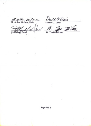 300x413 Signatures, in Report of the Historic Courthouse Committee, by H. Arthur McLane, 12 January 2015
