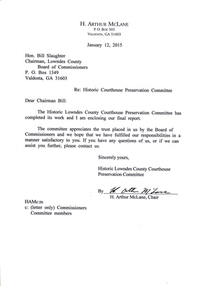 300x413 Cover letter, in Report of the Historic Courthouse Committee, by H. Arthur McLane, 12 January 2015