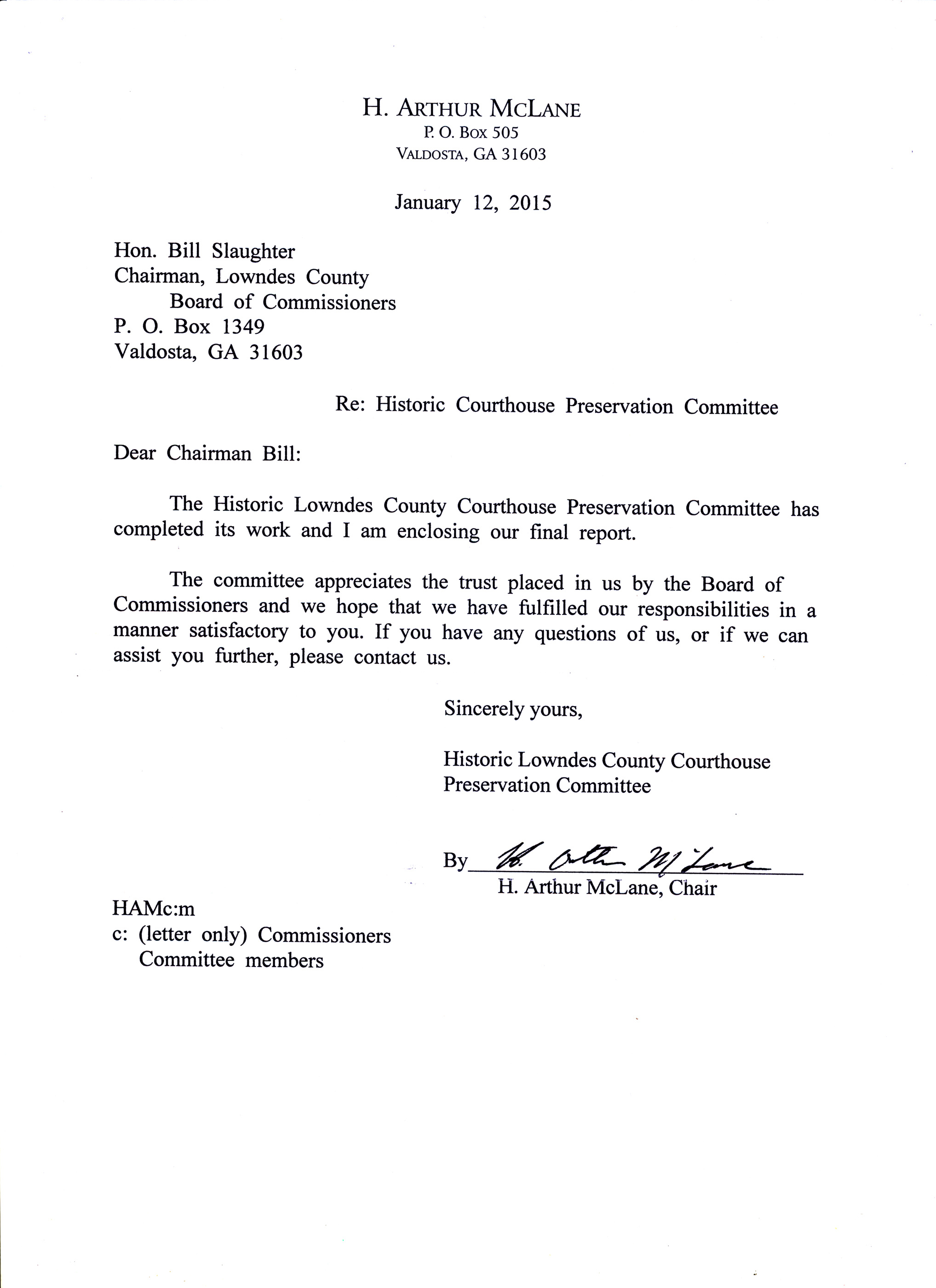 2035×2801 Cover letter, in Report of the Historic Courthouse ...
