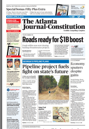 300x434 Page A1, in Sabal Trail front page Atlanta Journal-Constitution, by John S. Quarterman, 3 April 2015