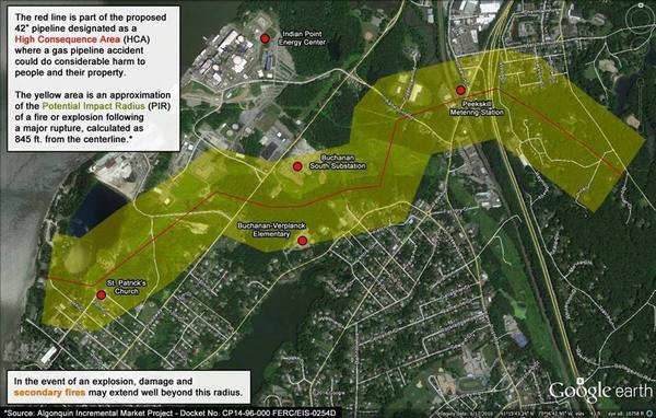 600x382 Location map, in NRC on Spectra AIM fracked methane pipeline past Indian Point nuke, by Stop the Algonquin Pipeline Expansion (SAPE), 15 July 2015