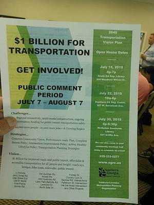 Public Comment Period, 2040 Transportation Vision Plan, SGRC