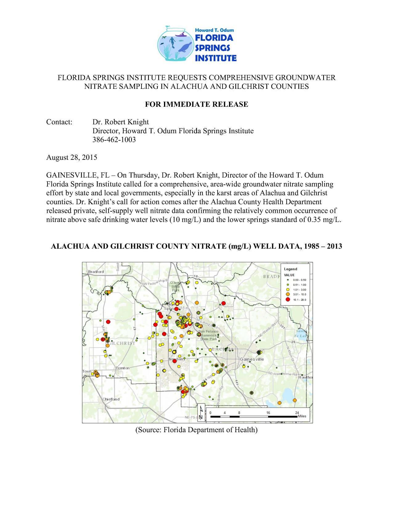 1275x1650 FSI requests page 1, in Requests comprehensive groundwater nitrate sampling in Alachua and Gilchrist Counties, by Florida Springs Institute, 28 August 2015