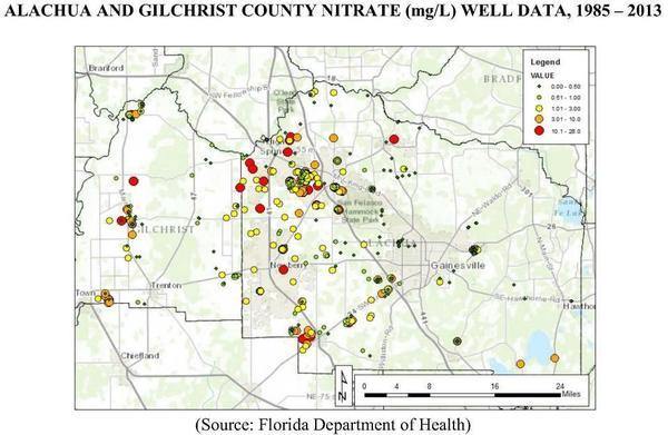 ALACHUA AND GILCHRIST COUNTY NITRATE (mg/L) WELL DATA, 1985 – 2013