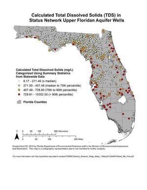 Calculated Total Dissolved Solids (TDS) in Status Network Upper Floridan Aquifer Wells