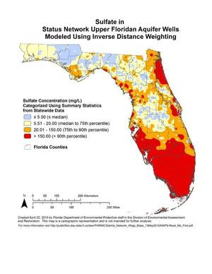 Sulfate in Status Network Upper Floridan Aquifer Wells Modeled Using Inverse Distance Weighting