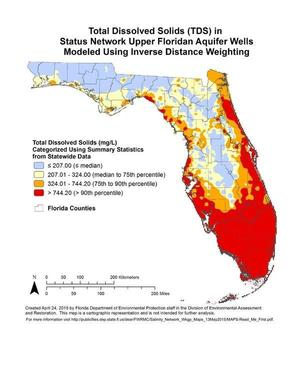 Total Dissolved Solids (TDS) in Status Network Upper Floridan Aquifer Wells Modeled Using Inverse Distance Weighting