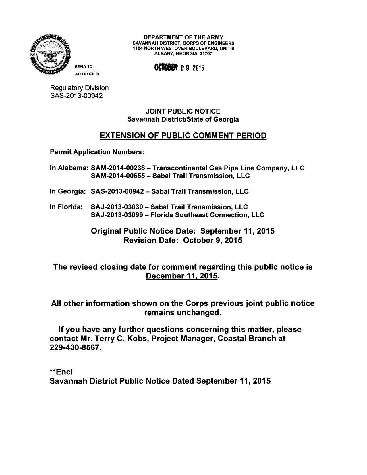 1278x1653 Until 11 Dec 2015, in 60-day extension to comment about Sabal Trail pipeline, by U.S. Army Corps of Engineers , 9 October 2015