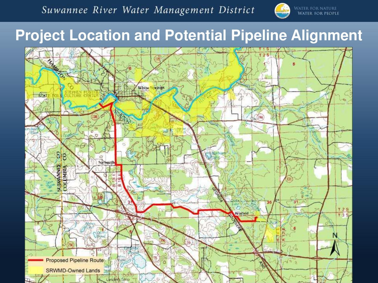 1500x1125 Project Location and Potential Pipeline Alignment, in Aquifer Recharge Concepts in the SRWMD, by Dale Jenkins, 29 January 2015