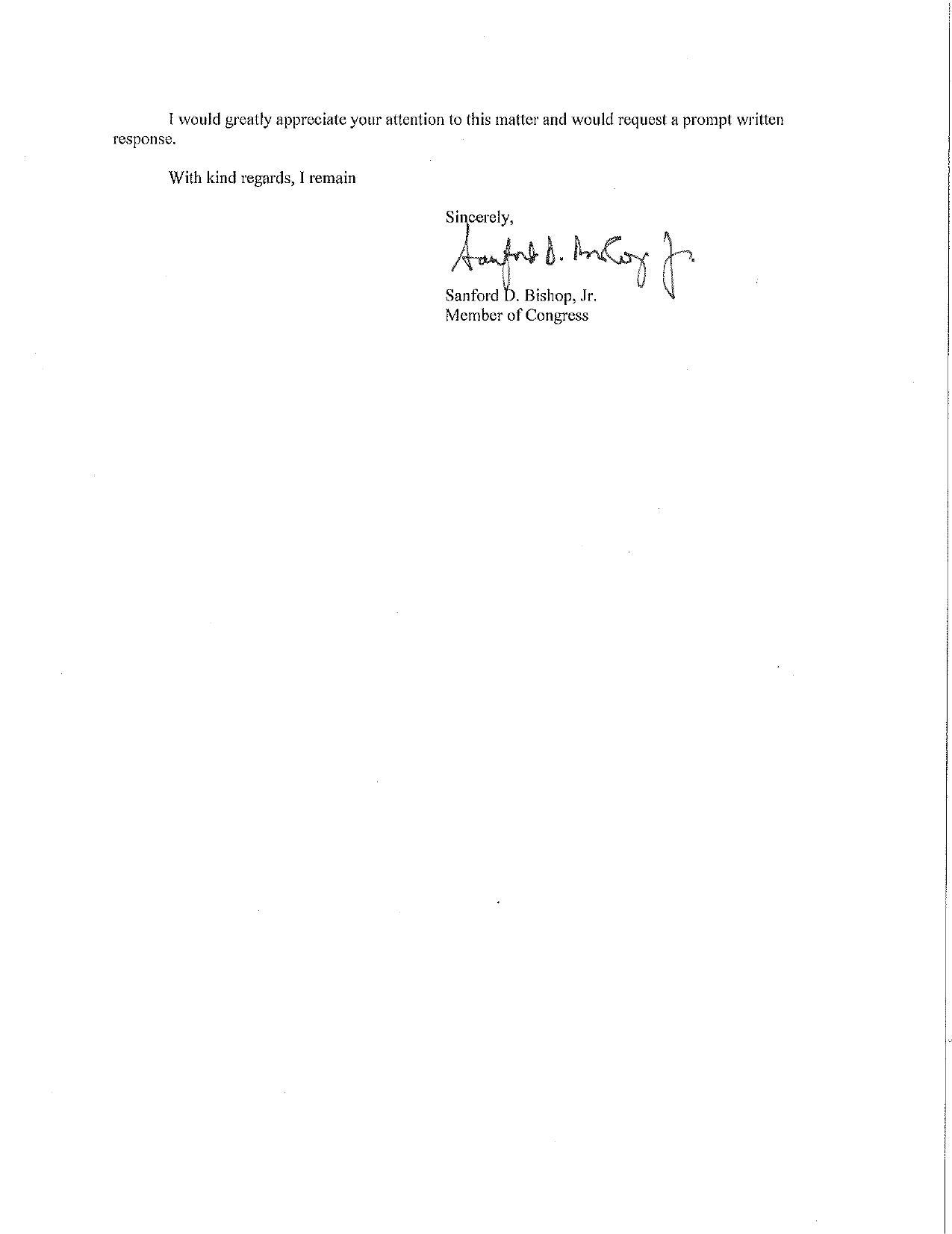 1275x1651 Request a prompt written response, in Request Supplementary Environmental Impact Statement, by Sanford Bishop, 27 May 2016