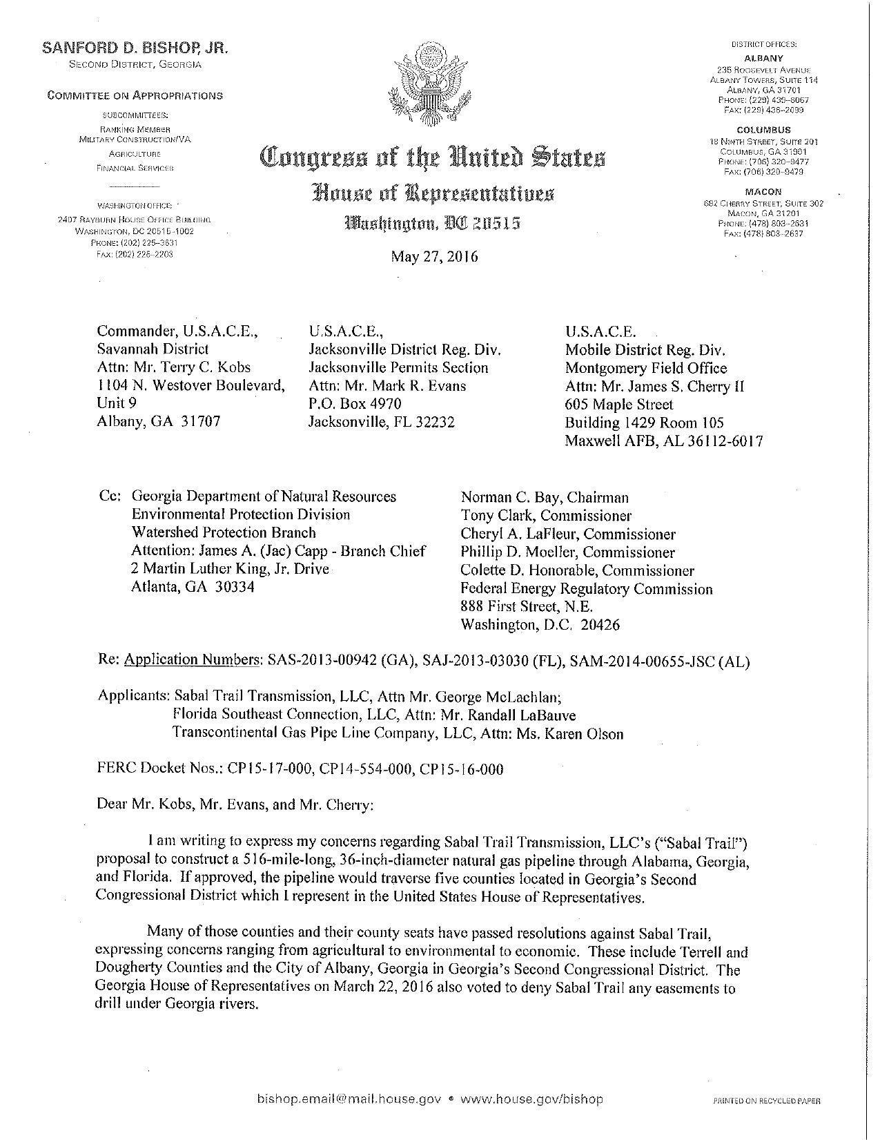 1275x1651 Many counties and county seats have passed resolutions against Sabal Trail, in Request Supplementary Environmental Impact Statement, by Sanford Bishop, 27 May 2016