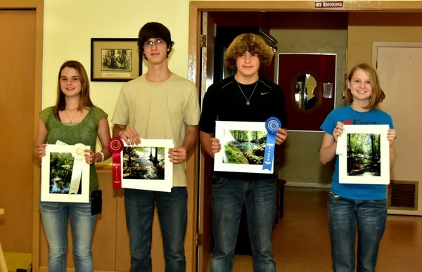 l-r: Jessica Bowman, Third Place, Branford High School; Second Place, Ben Bowman, Branford High School; Randall Petty, First Place, Hamilton High School; Mallory Stevens, Honorable Mention, Branford High School
