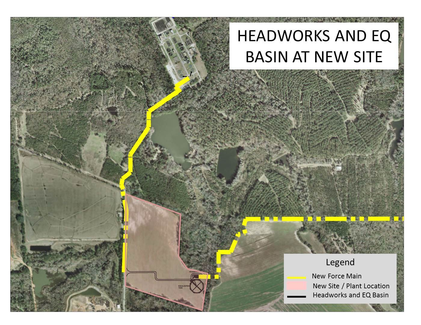 1400x1081 Map, in Headworks and EQ Basin at New Site, by Valdosta Utilities, 8 June 2016