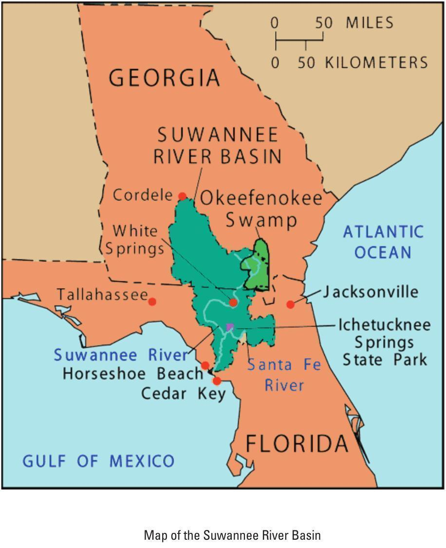 916x1124 Map of Suwannee River Basin, in Suwannee River Basin and Estuary Integrated Science Workshop, by USGS, 22-24 September 2004