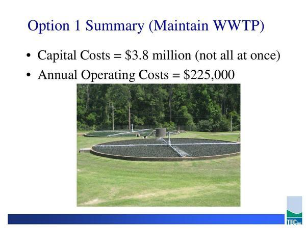 Option 1 Summary Maintain WWTP