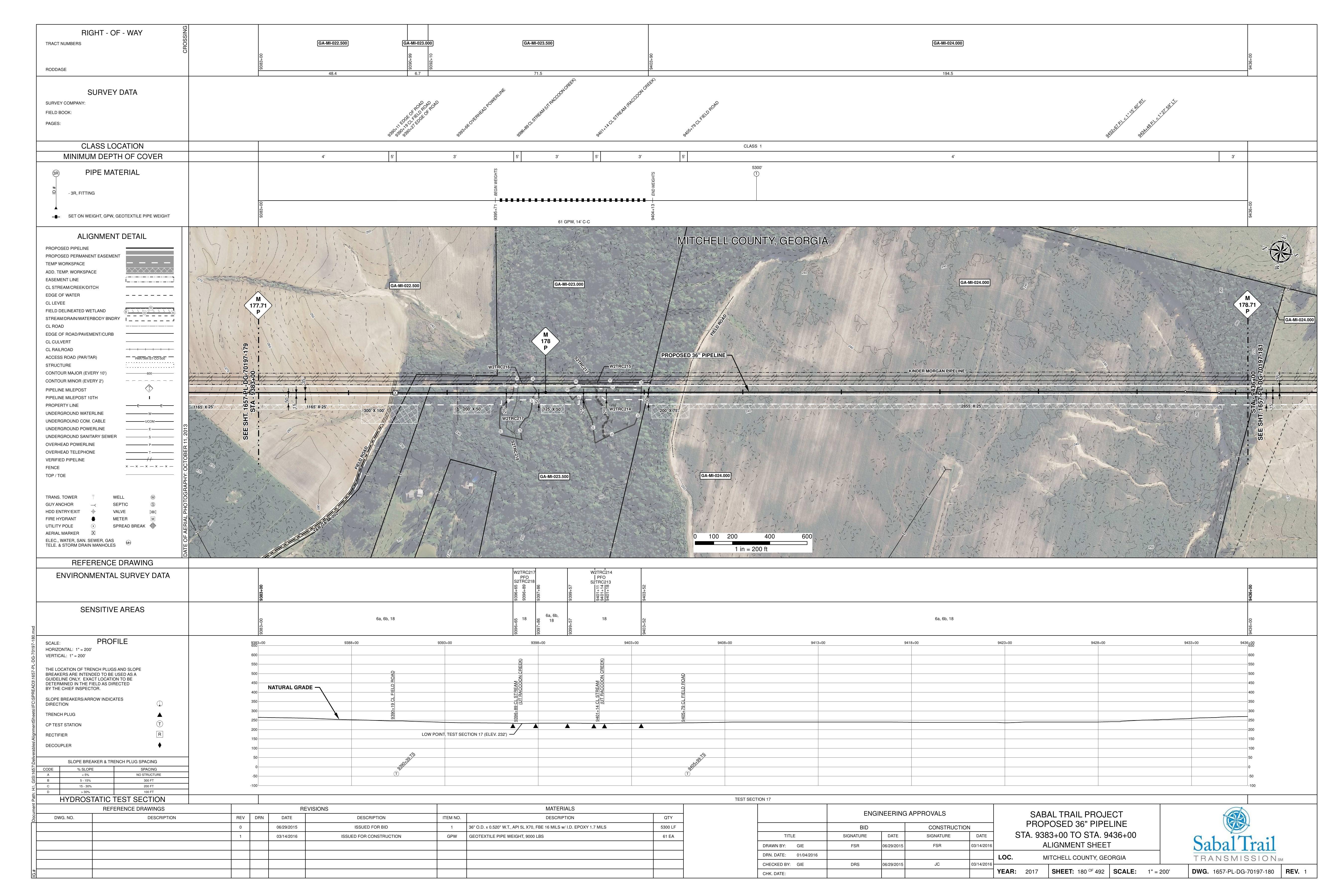 5400x3601 UT & CL Raccoon Creek & 12220 HWY 93, BACONTON, GA 31716, STA. 9383+00 TO STA. 9436+00, 31.351624, -84.022632, in Mitchell County, GA, by Sabal Trail Transmission, 2016-04-07