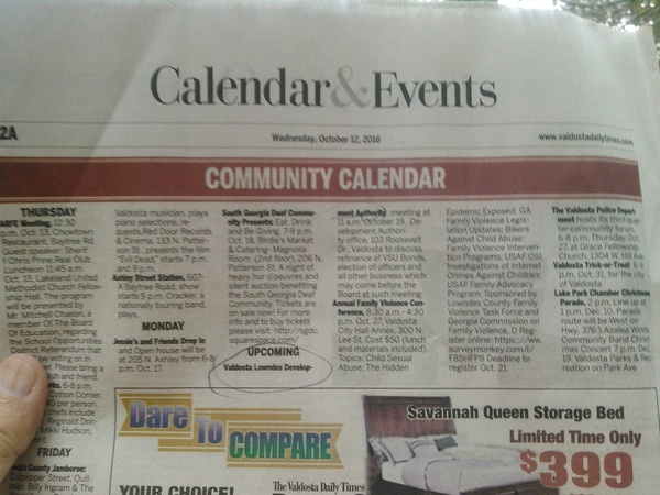 Community Calendar, VDT page 12a, 12 October 2016