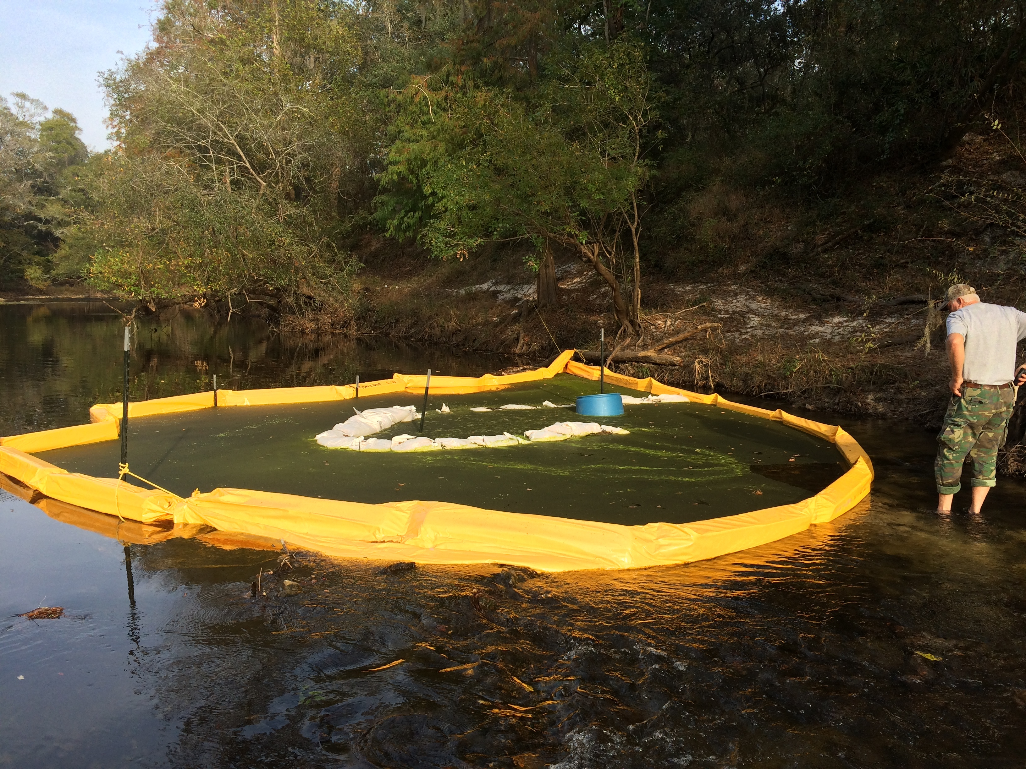 3264x2448 Turbidity curtains with human for scale (Chris Mericle), in Sabal Trail still leaking drilling mud into the Withlacoochee River in GA, by Deanna Mericle, 12 November 2016