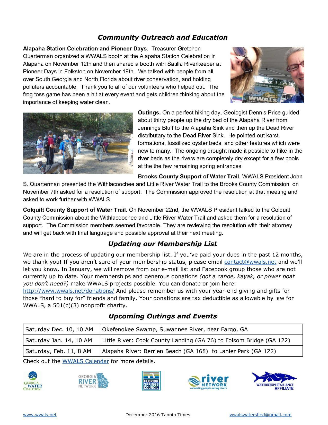 1275x1651 Alapaha Station Celebration, Okefenokee Pioneer Days, Outings, Water Trails, Membership, in December Tannin Times, by WWALS, 0 December 2016