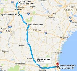 I-75 through Atlanta, Macon, Valdosta, I-10 through Lake City