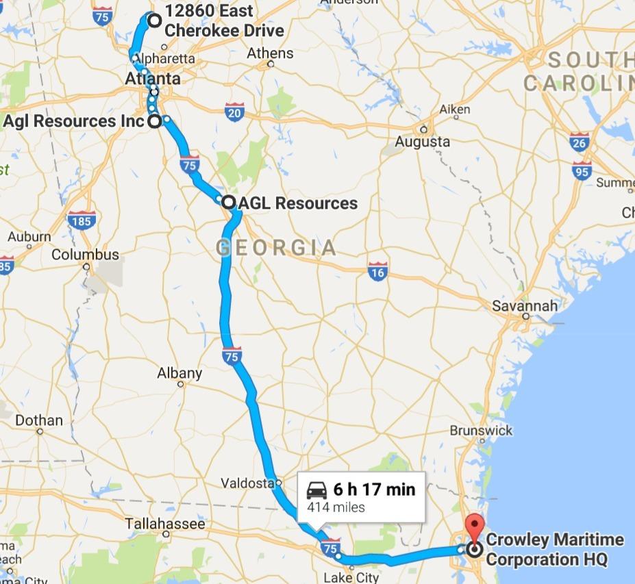 927x853 I-75 through Atlanta, Macon, Valdosta, I-10 through Lake City, in AGL Resources LNG export via Jaxport, by John S. Quarterman, 9 February 2017