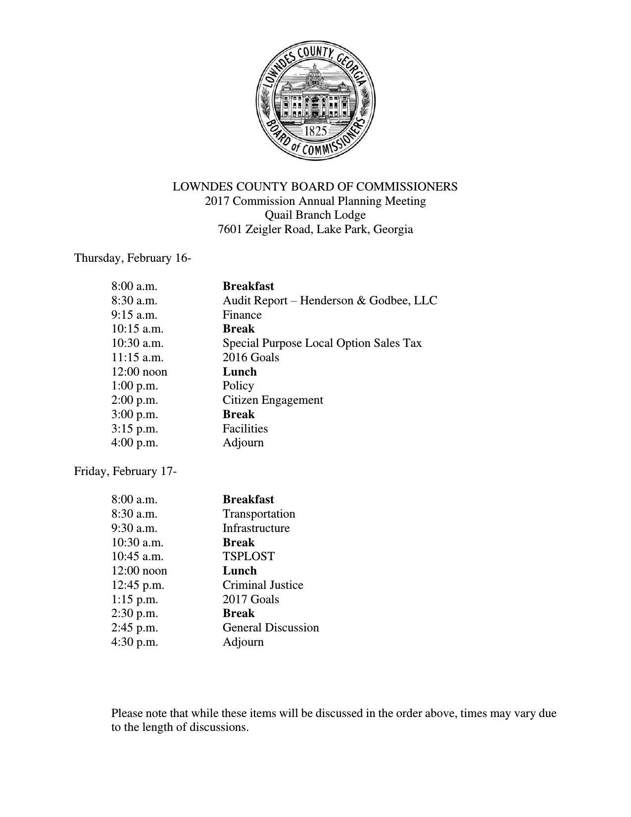 1275x1651 2017-02-16--lcc-planning-agenda-0001, in Agenda, 2017 Commission Annual Planning Meeting, by Lowndes County Board of Commissioners, 16 February 2017