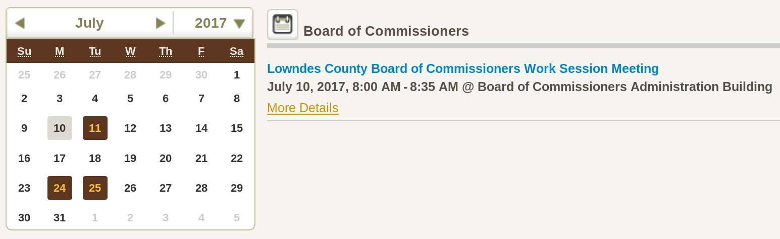 1545x475 Look closely: 8:00 AM, not 8:30 AM, in Lowndes County Commission changes time of Work Session, by County Clerk Paige Dukes, 10 July 2017