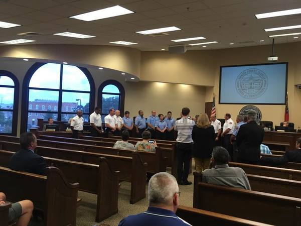 600x450 Facing podium, in Firefighters honored for West Mims Fire, by John S. Quarterman, 8 August 2017
