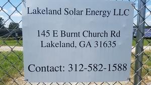 Lakeland Solar Energy LLC, 154 E Burnt Church Road, Lakeland, GA 31635, 312-582-1588