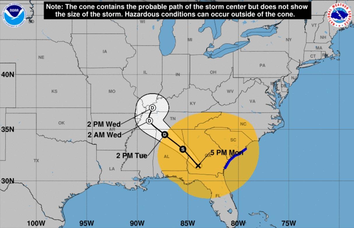 1215x781 2017-09-11 5PM Cone of Probable Path, in Hurricane Irma tracks, by John S. Quarterman, 12 September 2017