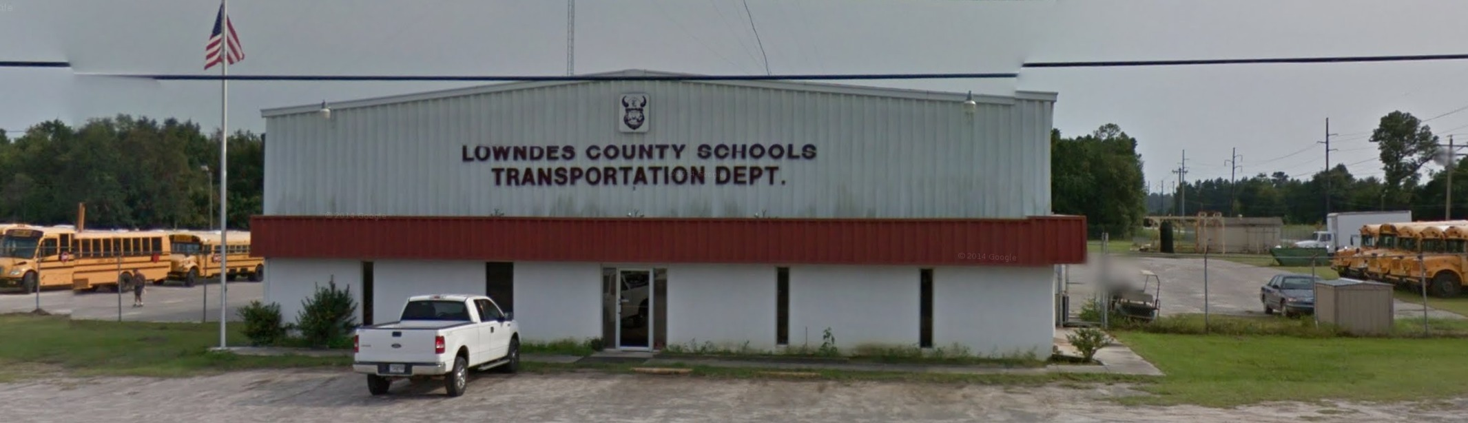 2131x614 Google Street View, SE Corner Clay and Howell Roads, in Lowndes County Schools Transportation Department, by John S. Quarterman, 3 November 2017