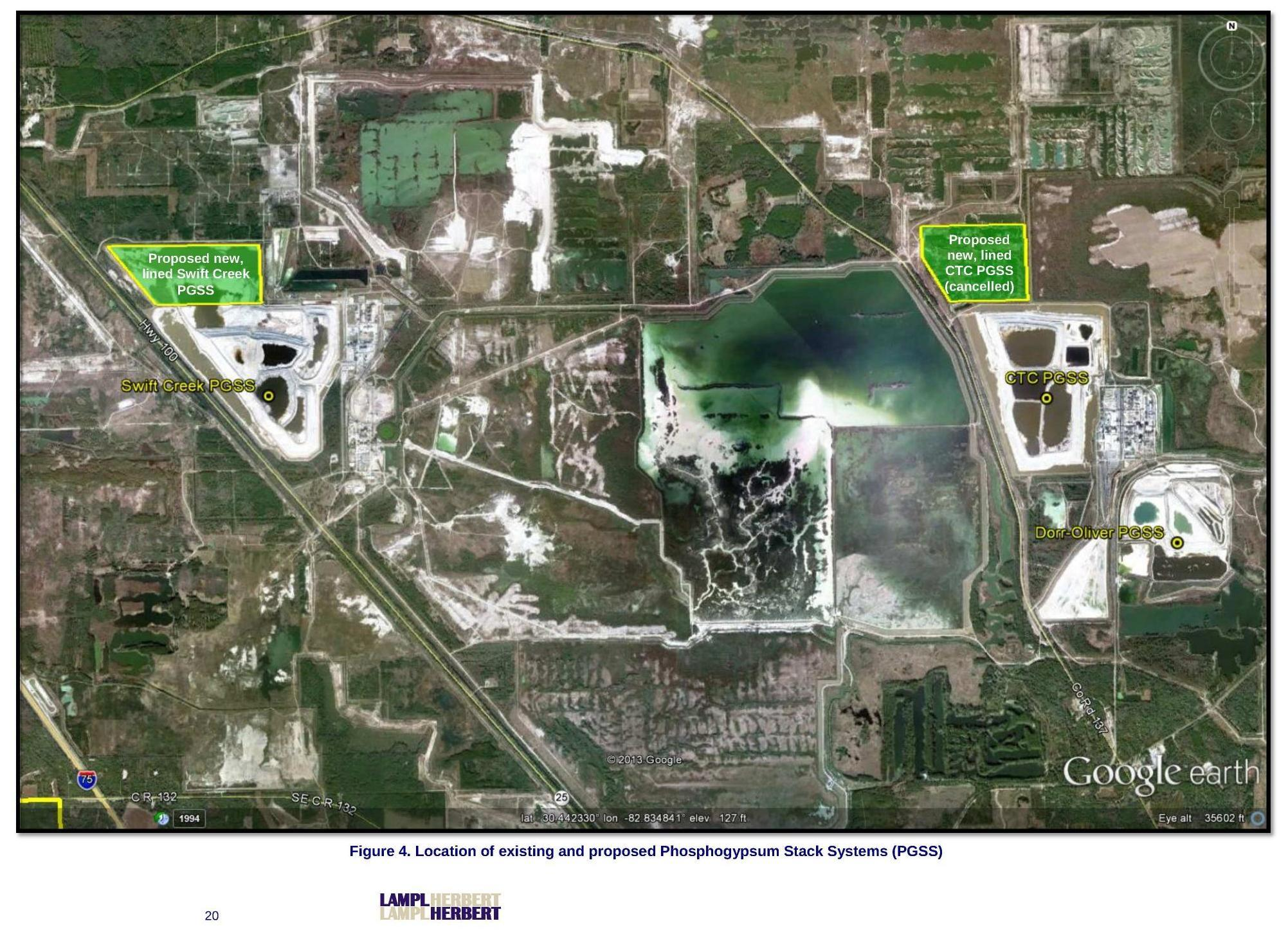 2003x1447 Figure 4. Location of existing and proposed Phosphogypsum Stack Systems (PGSS), Map, in FINAL REPORT Review of PCS Phosphate â?? White Springs, by Lampl-Herbert, 23 February 2018