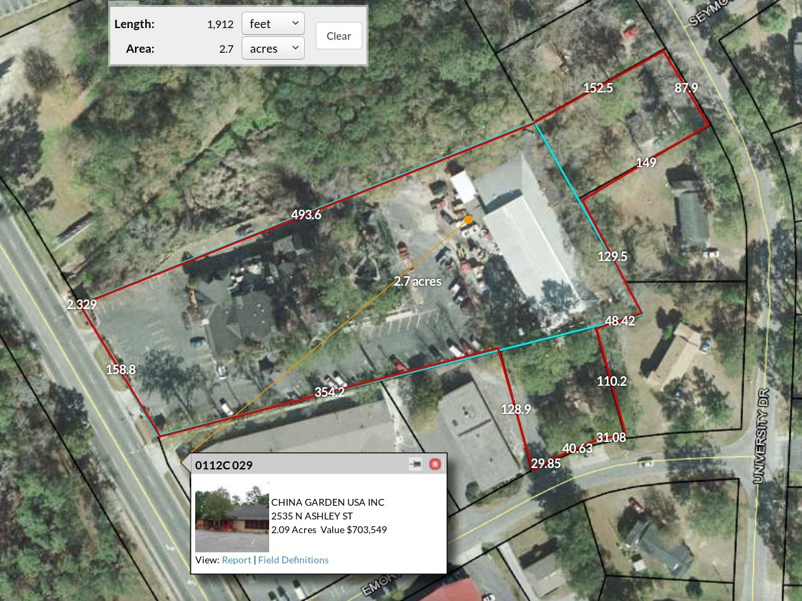 1171x877 China Garden, Ashley, Emory, and University, in Three connected lots, by John S. Quarterman, 30 April 2018