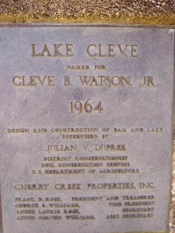 Named for Cleve B. Watson, Jr., Plaque