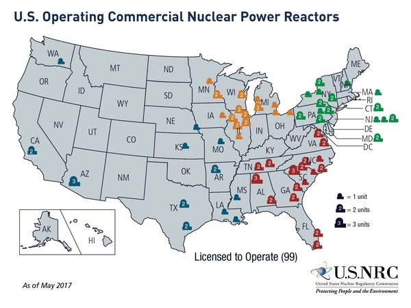 U.S. Operating Commercial Nuclear Power Reactors, Map