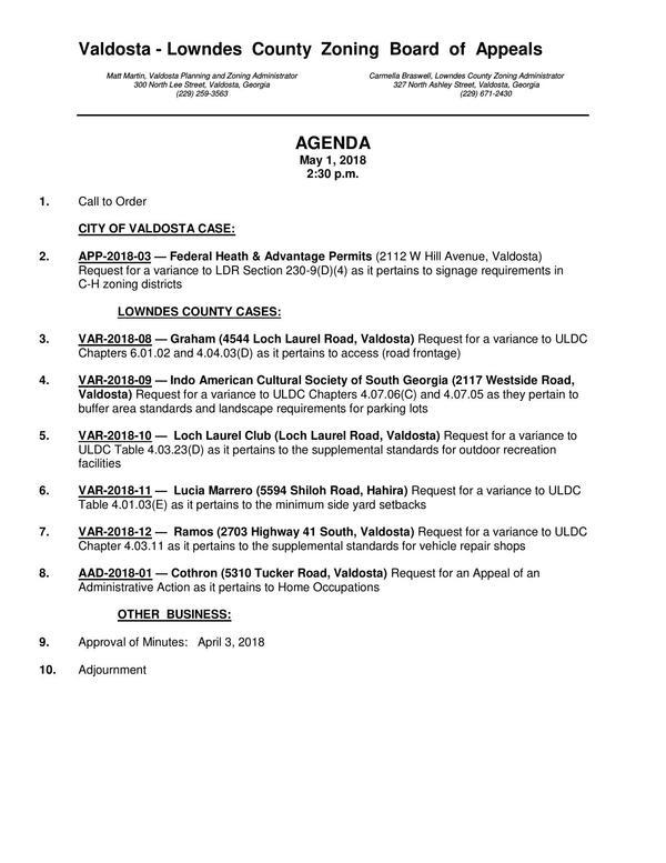 One page, Agenda